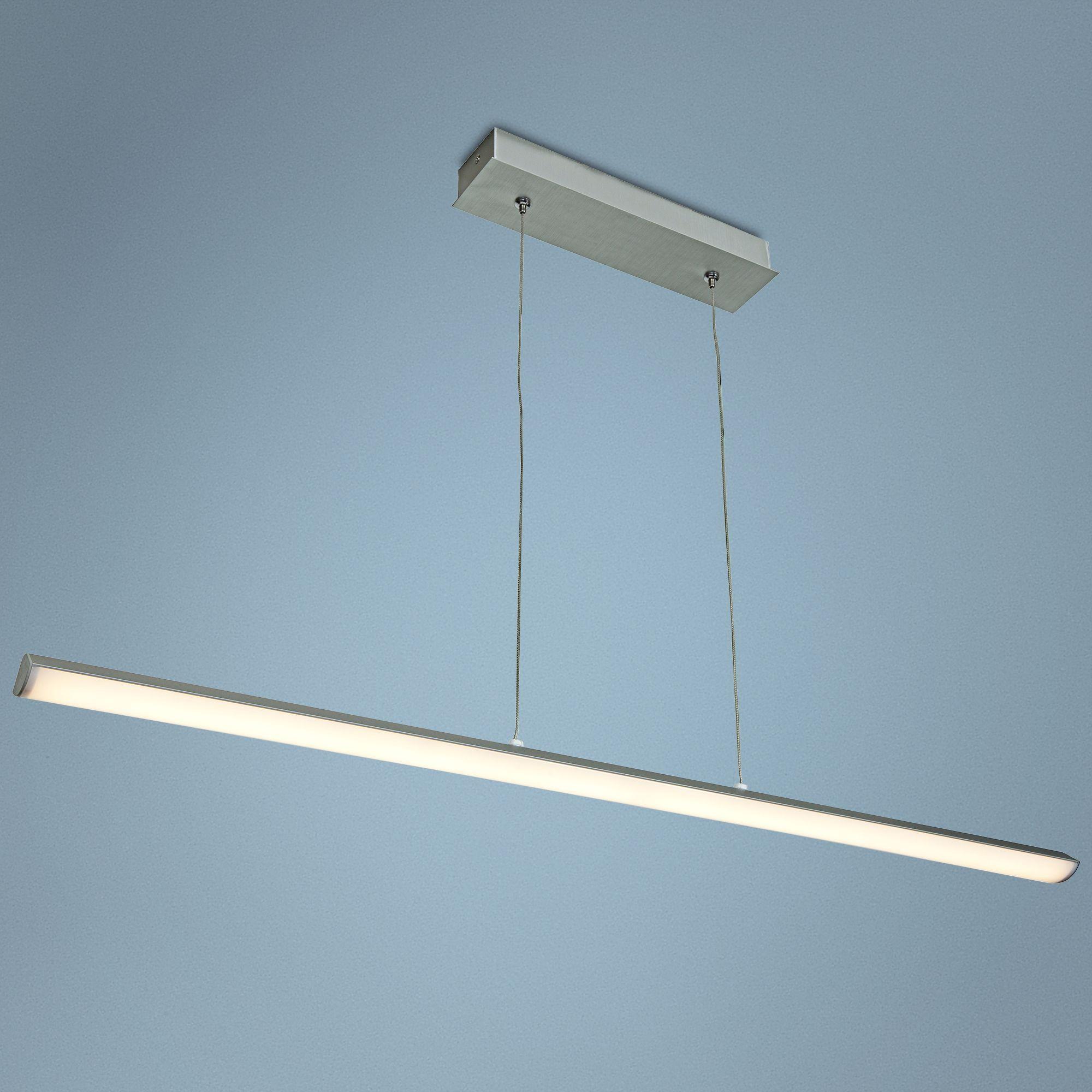 Float 36-Inch-W Minimalist Silver Linear Island LED Pendant ...