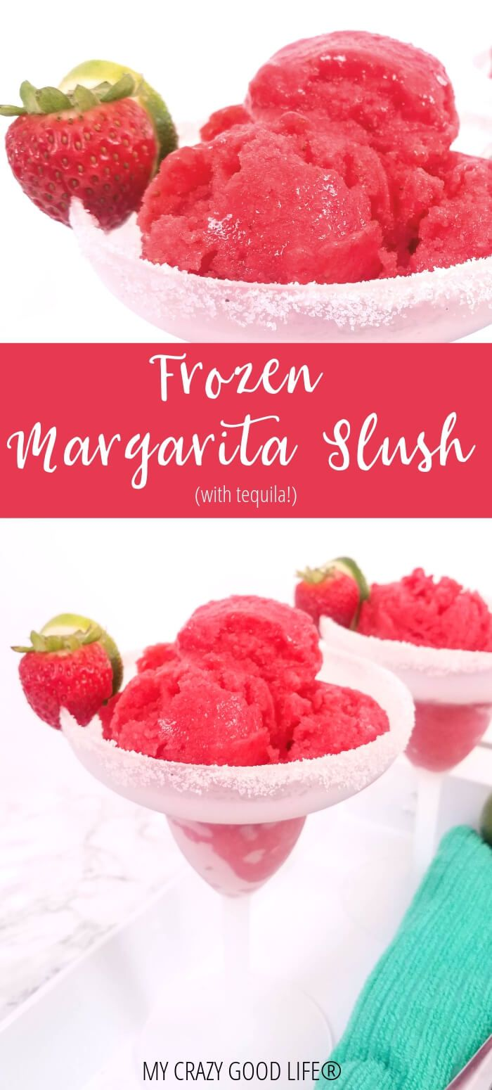 This Frozen Margarita Slush with Tequila is a delicious frozen cocktail! Frozen Strawberry Margaritas are tough to make because they separate–not these! This is a healthy margarita recipe that contains no prepackaged juices or syrups–it's sweetened with fruit and honey! 21 Day Fix | Weight Watchers #frozenmargaritarecipes