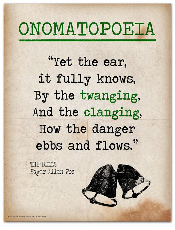The Bells Onomatopoeia Quote Educational Art Print Featuring Edgar