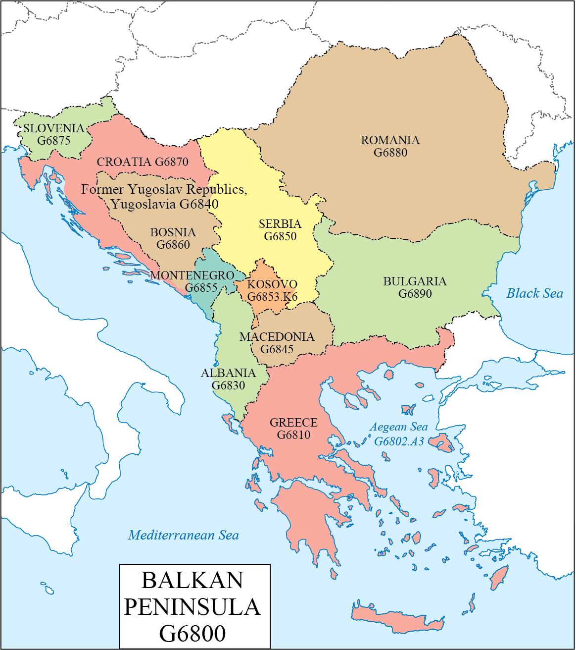 Balkan Peninsulatriangular arm of land that juts from