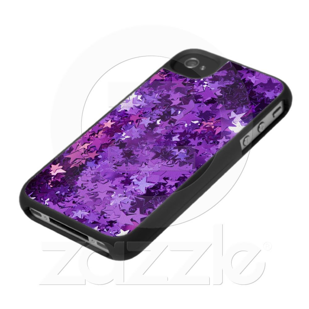 Bling bling glitter star sequin purple iPhone case from Zazzle.com