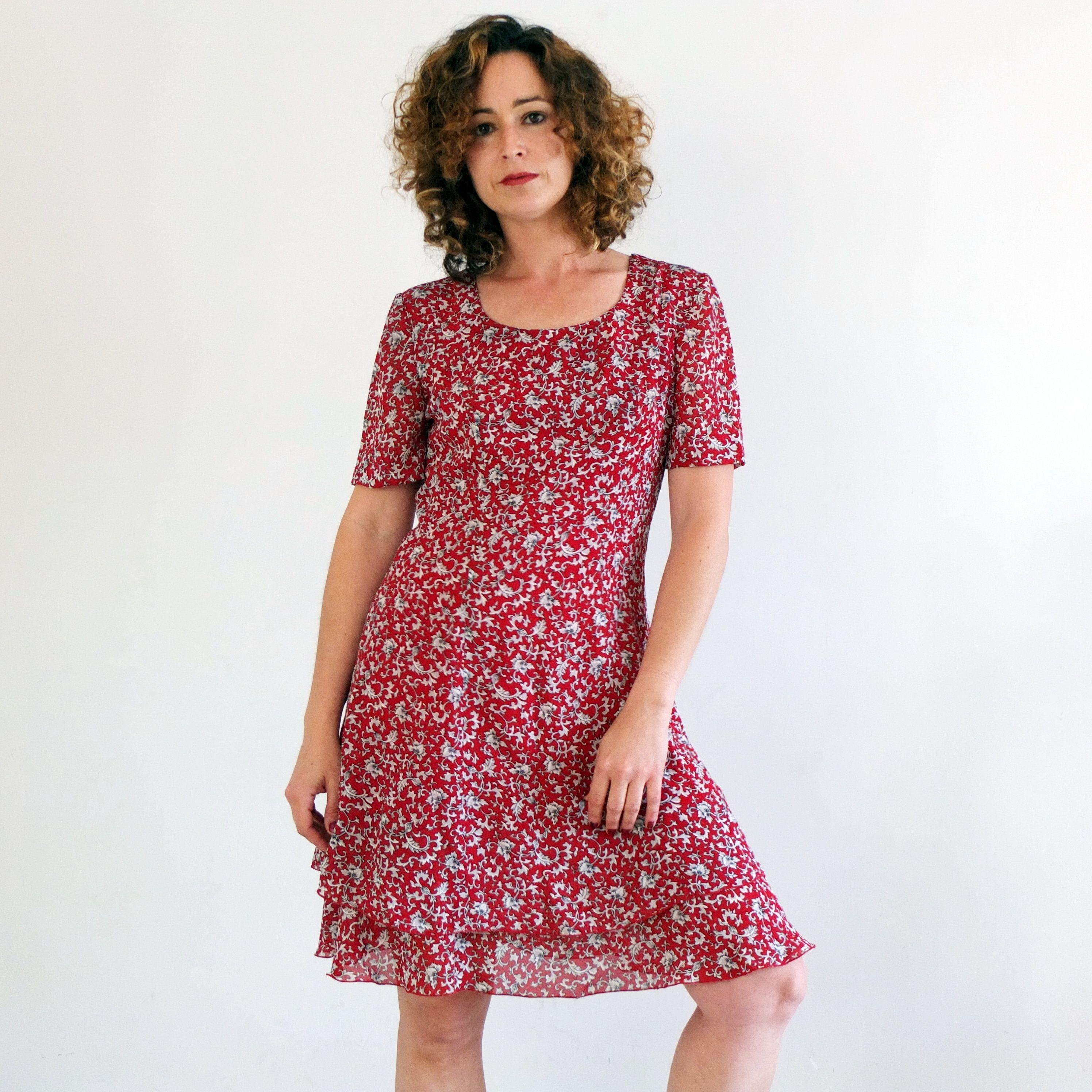 Vintage 90s Floral Mini Dress Small