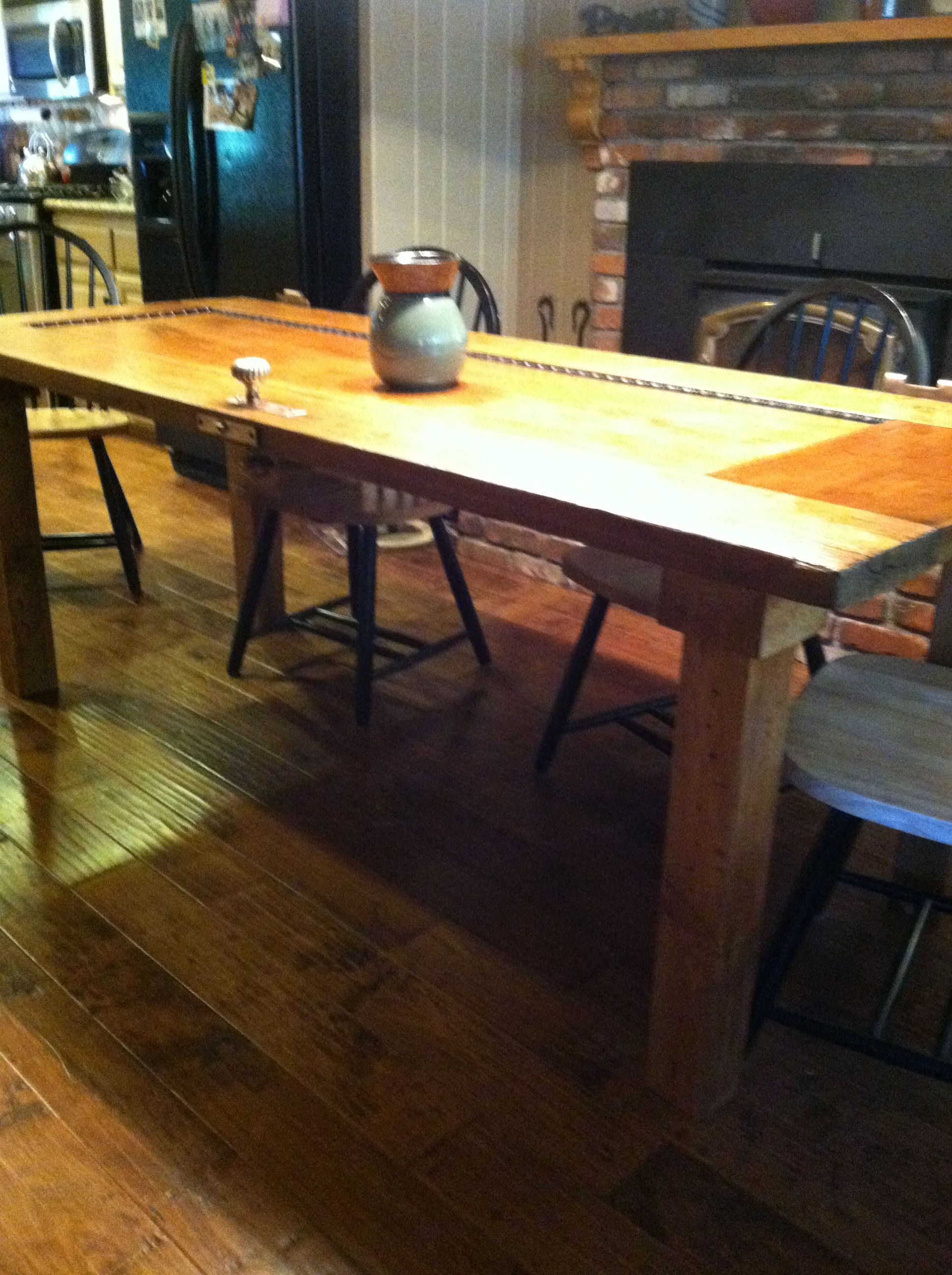 Amazing photo of Kitchen table made from old door. Legs made from pallet Water Oak  with #AD931E color and 2592x1936 pixels