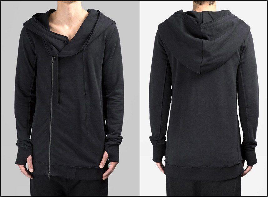 Men's Black Hoodie Asymmetric Zip