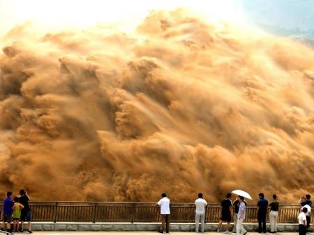 Espectacular fotografía de un lavado de arena, Jiyuan