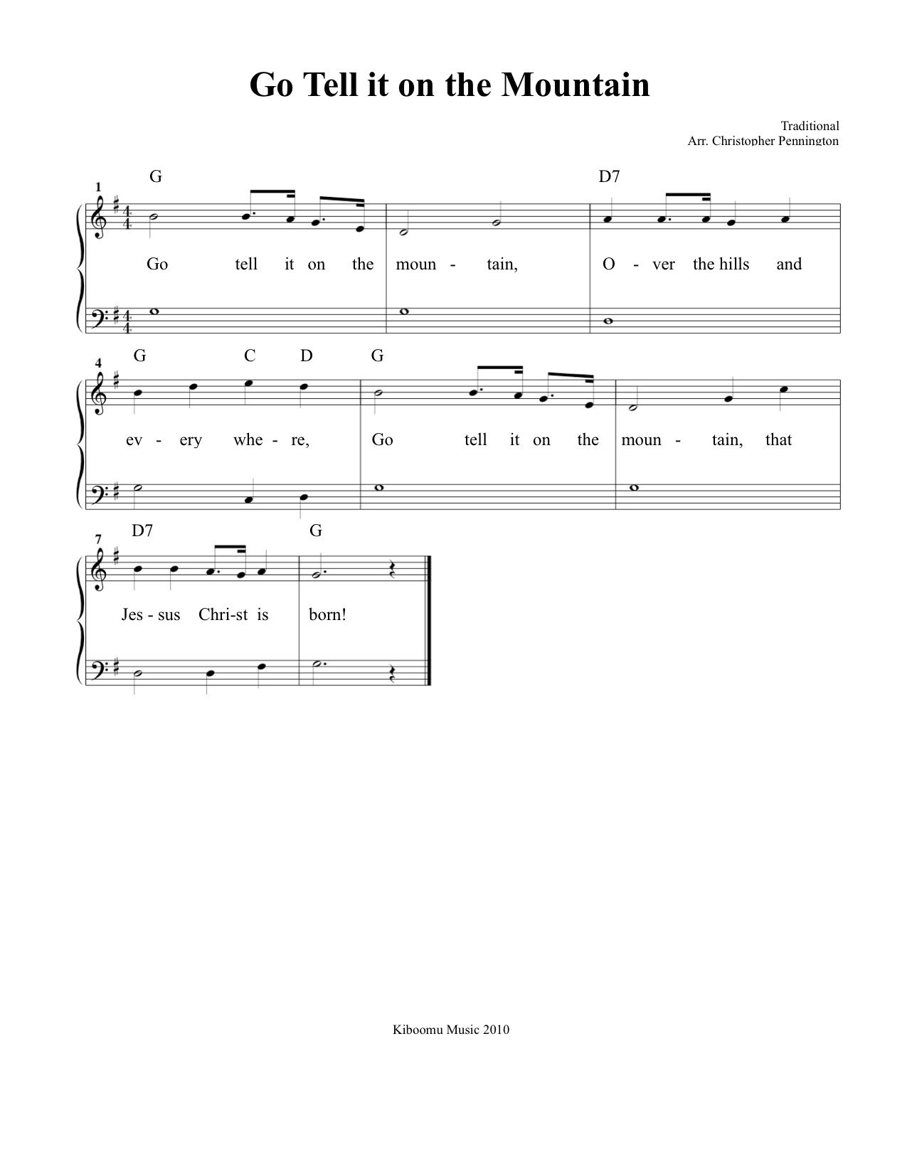 Go Tell It On The Mountain Sheet Music And Song Sheet Music