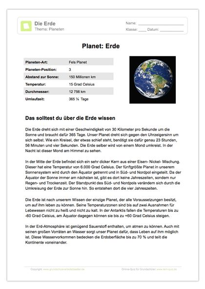 Arbeitsblatt: Lesetext - Planet Erde | Sachunterricht | Pinterest ...