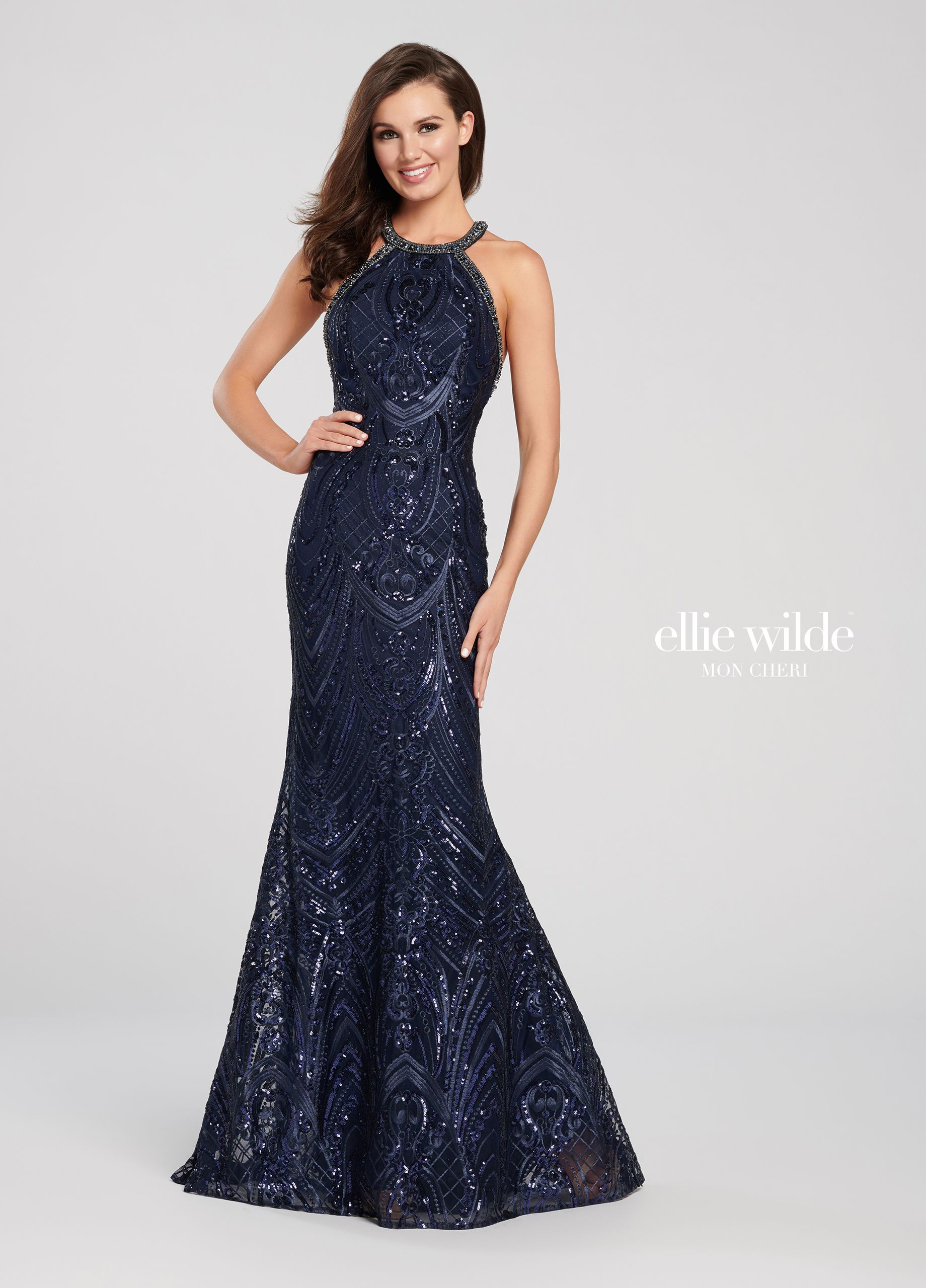 674c3b387d64 Allover embroidered sequin lace fit flare prom dress ew119109 – Artofit