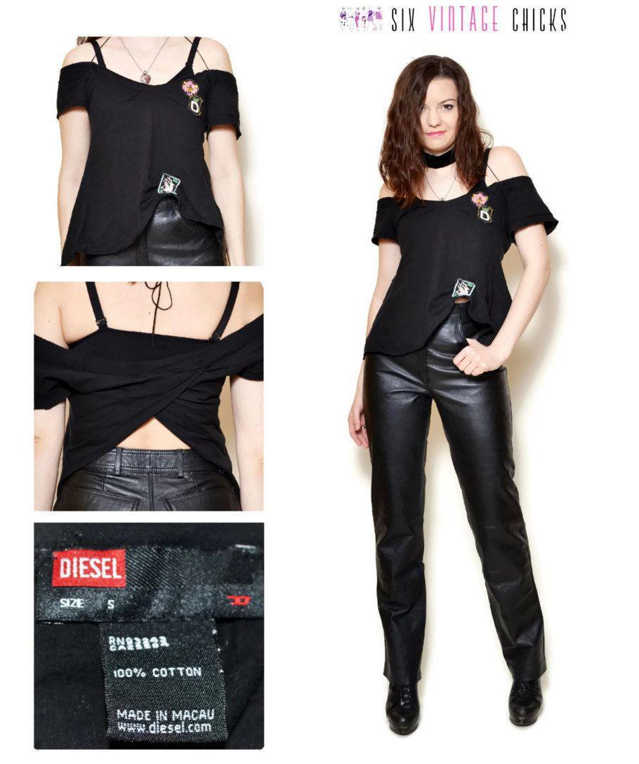 2502bd46aca2fa 90s t shirt women Festival Clothing Vintage Clothing black top minimalist  Rock n Roll T shirts diesel shirt tops open back shirt rocker S by ...
