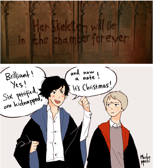 If Sherlock went to Hogwarts (from http://machomachi.tumblr.com)