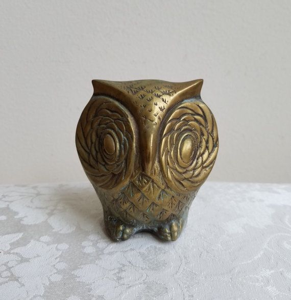 Vintage brass owl statue big eyes bird by leonard gold metal paperweight bohemian woodlands
