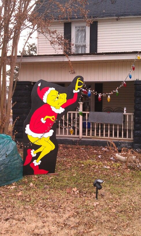 Mr Grinch Stealing Lights Off My House Used Photo From Internet And Grid Method To Enlarge