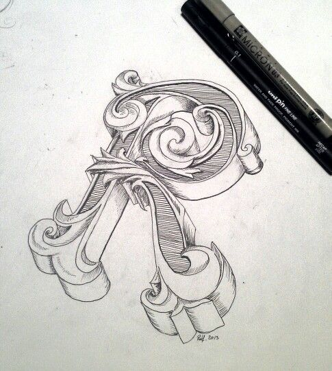 Typography hand drawing initial letter r by rolf dingerink