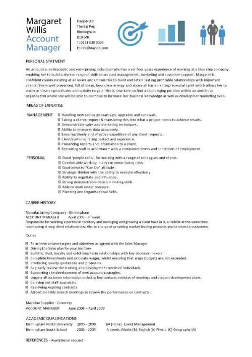 Account manager CV template, sample, job description, resume, sales