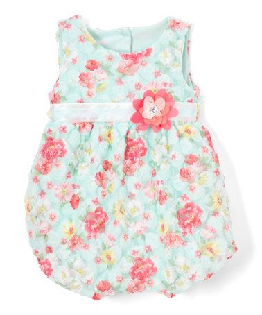 $9.99 marked down from $40! Green Floral Appliqué Bubble Romper - Infant #zulily! #zulilyfinds