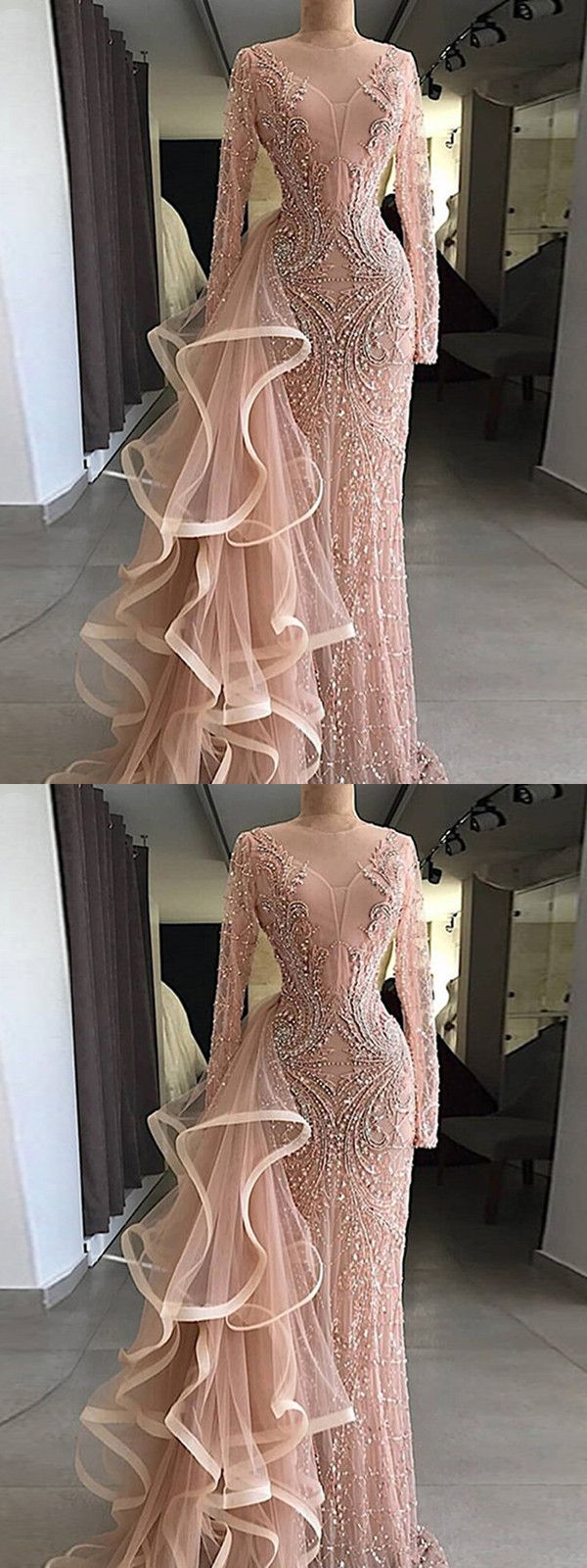 Chic pink prom dress sheath long sleeve prom dress vb in