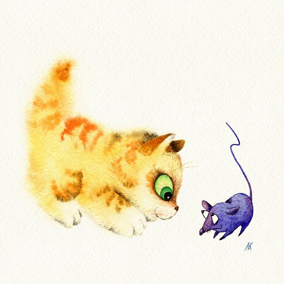 Nursery wall art baby room decor  Kitten and by NebelsWatercolor, $20.00