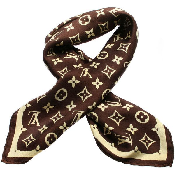 74f10b80f9b Vintage LOUIS VUITTON Silk Logo Scarf ❤ liked on Polyvore featuring  accessories