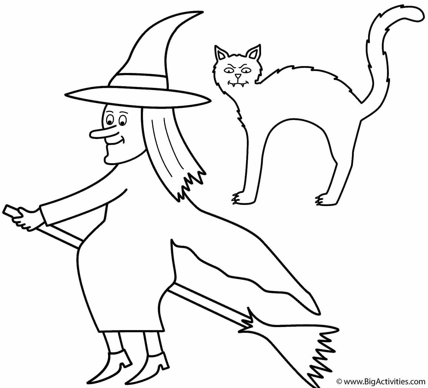 Black Cat Coloring Page Beautiful Witch On Broom With Black Cat Coloring Page Halloween Cat Coloring Page Free Halloween Coloring Pages Coloring Pages