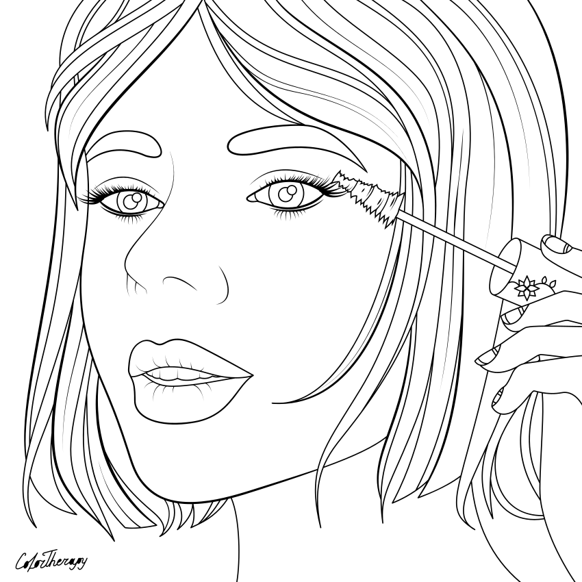 The Sneakpeek For The Next Gift Of The Day Tomorrow Do You Like This One Lady Doing Mascara Coloring Pages Blank Coloring Pages Cool Coloring Pages