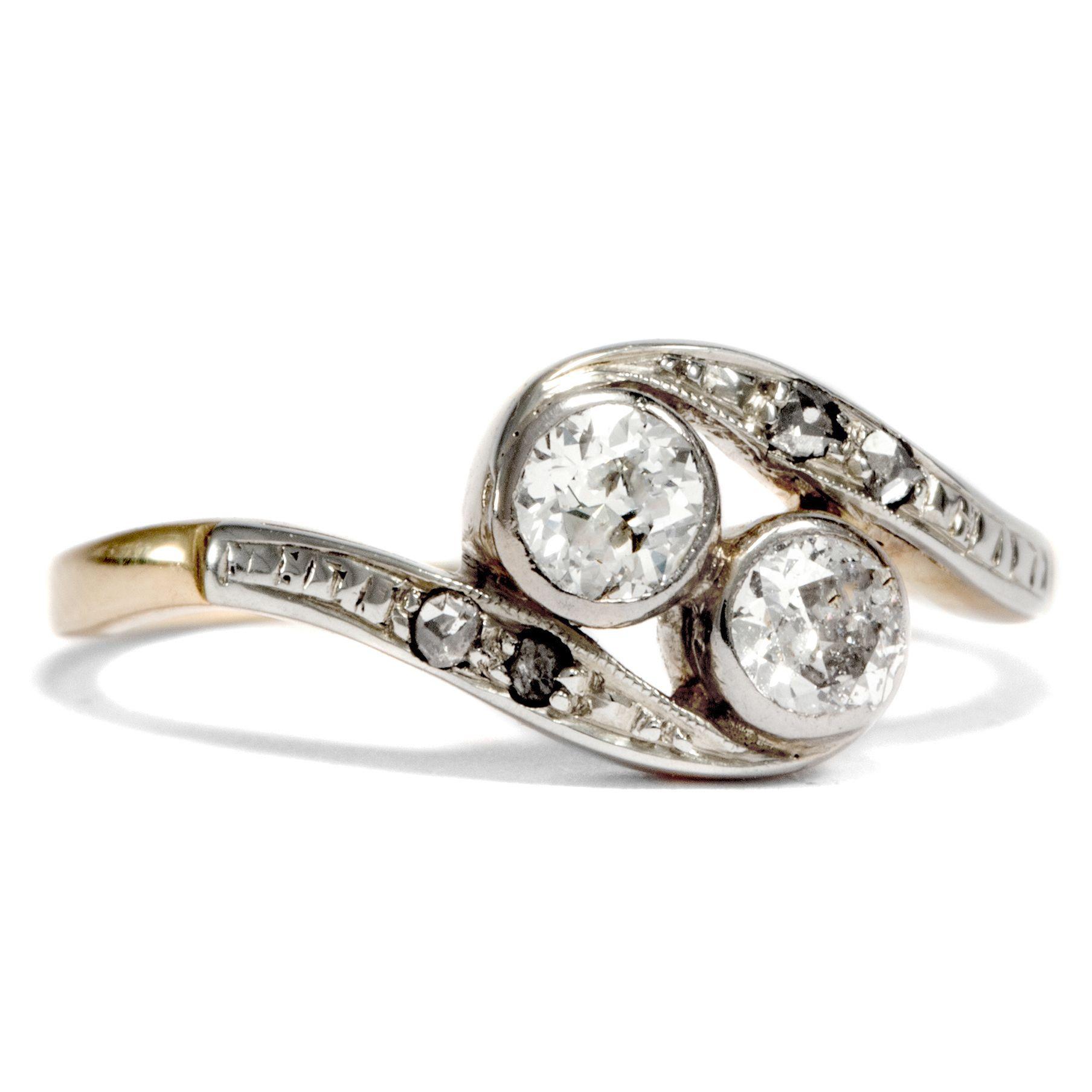 Und wenn du Glück hast Toi et Moi Ring aus Gold Platin