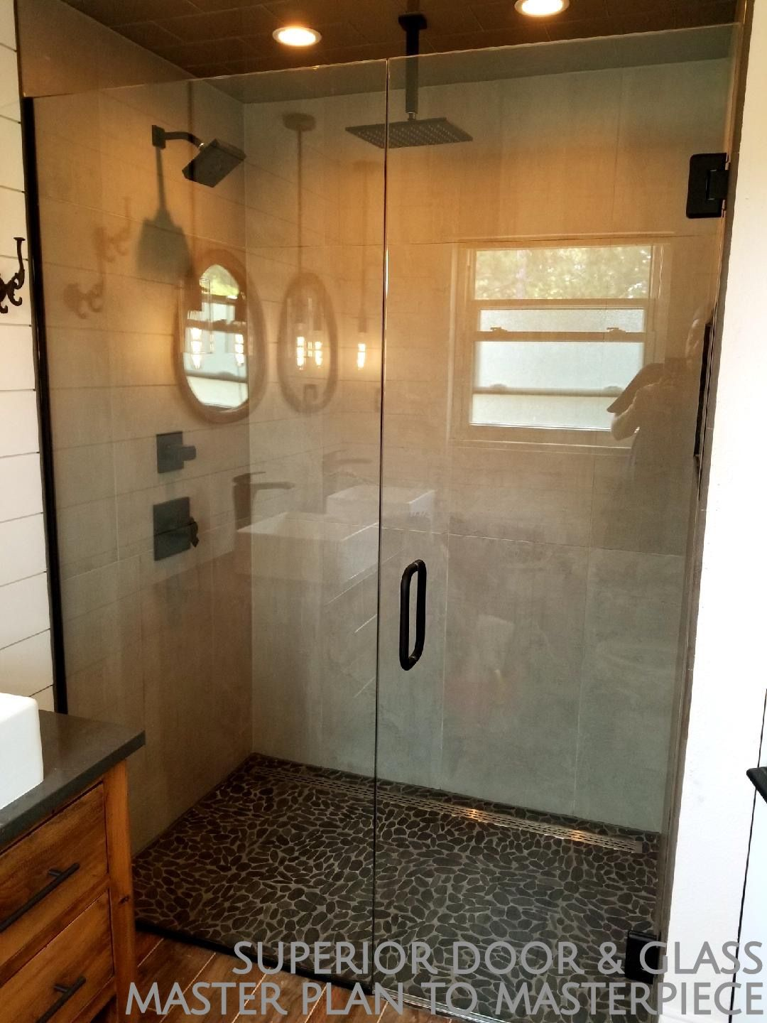Superior Door Glass Installed This Terrific Frameless Shower Door And Enclosure Look How Wonderful The Tiles And Rock Floor Are Shown Off Fra With Images Shower Doors