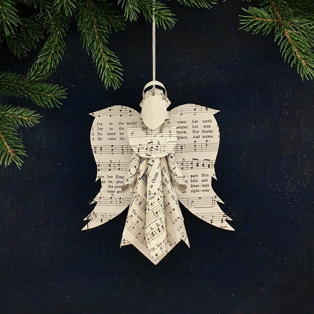 Sheet Music Angel Ornament How To Make Ornaments Hymnal Crafts Angel Ornaments