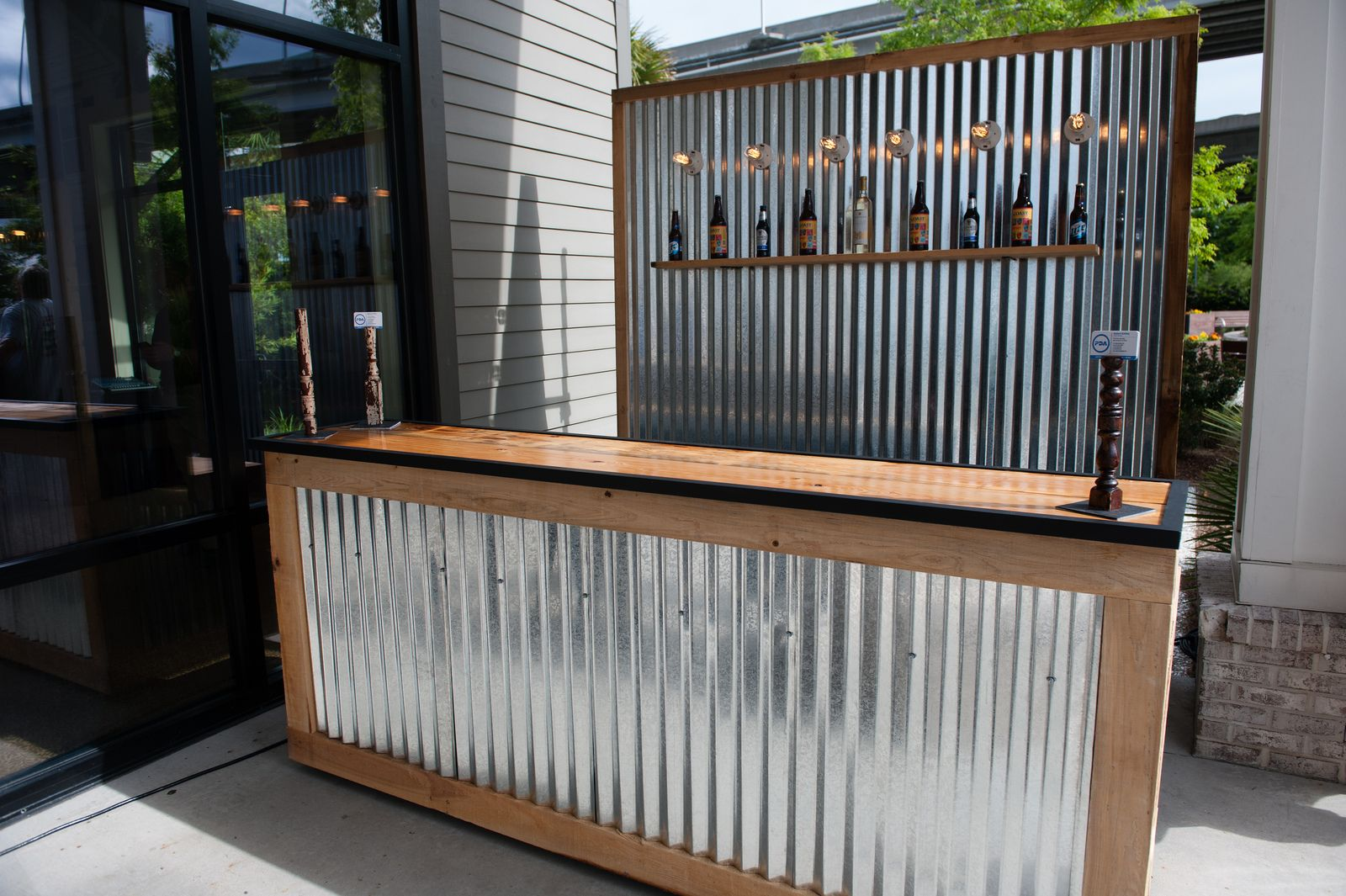 Corrugated Metal Bar (Large) and Corrugated Metal Backdrop with Shelf