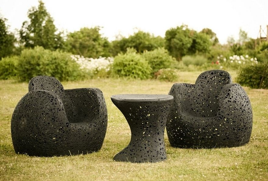 unusual outdoor chairs silver chair covers cheap basalt fiber garden furniture latvia around