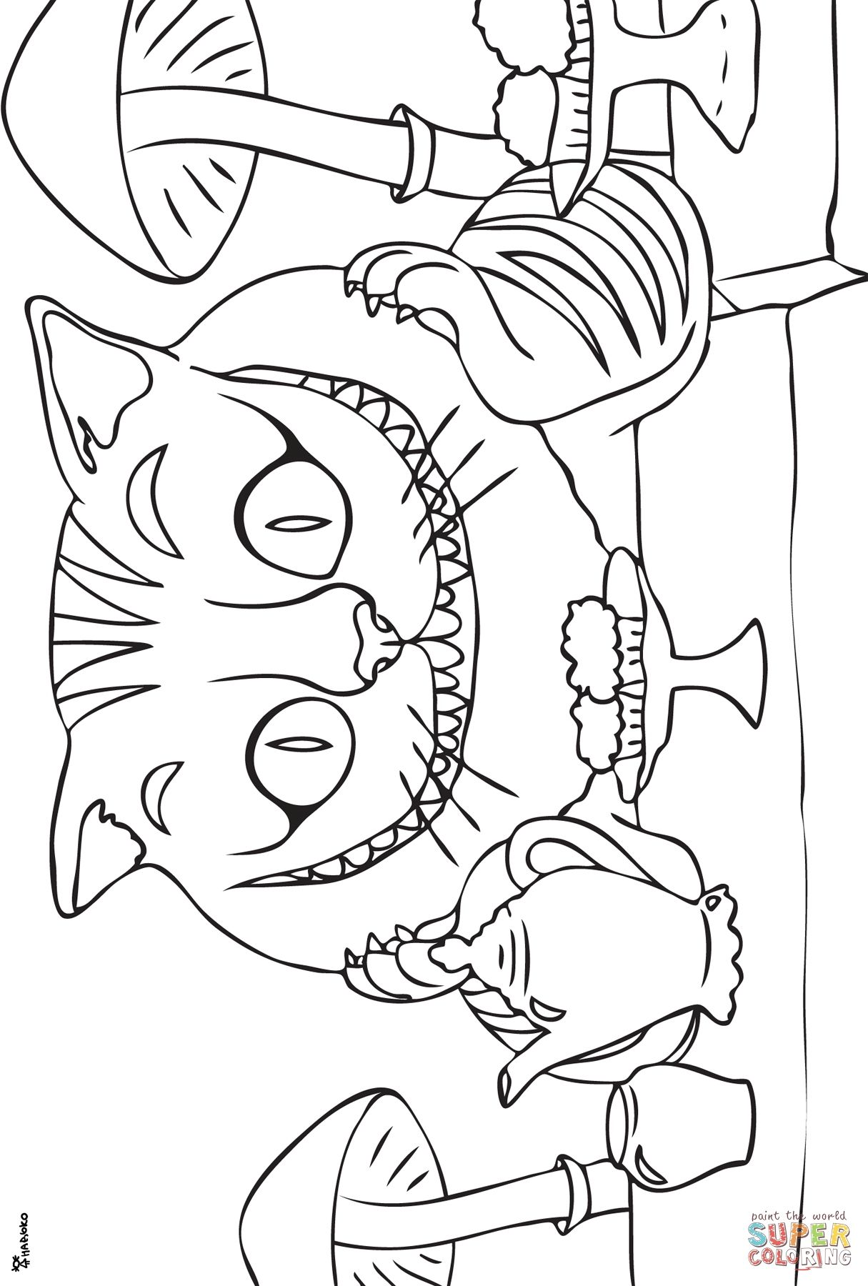 Cheshire Cat Coloring page | Free Printable Coloring Pages | sweet ...