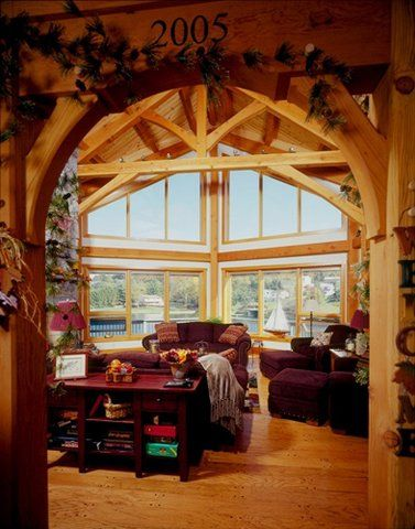 Douglas Fir timber frame with a prow and view of Pennsylvania lake ...