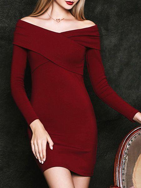 Shop Mini Dresses - Burgundy Elegant Bodycon Plain Mini Dress online. Discover…