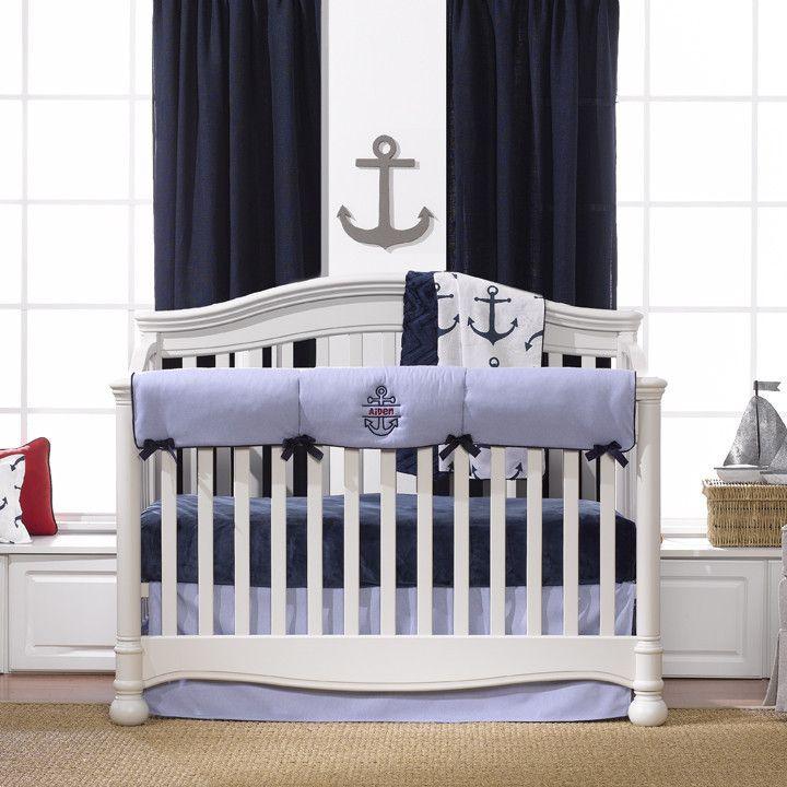 Nautical Bumperless Crib Bedding Liz And Roo Luxury Baby