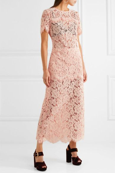38afca0d GANNI - Duval Corded Lace Maxi Dress - Pastel pink | Products | Lace ...