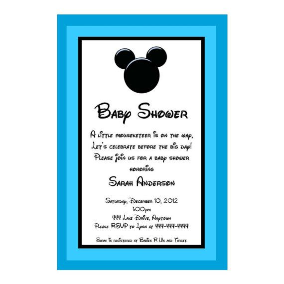 Mickey Mouse Baby Shower Invitations | Mickey Mouse Inspired Baby Shower  Invitation   Great For A