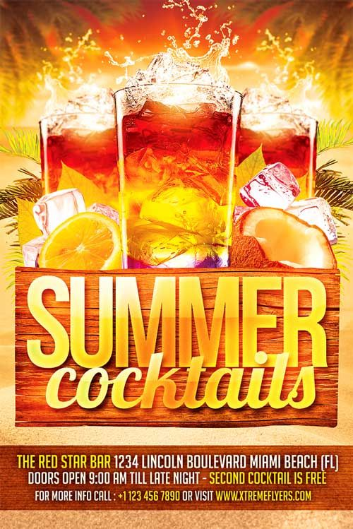 Summer Cocktails Flyer Template - http://xtremeflyers.com/summer-cocktails-flyer-template/ Summer Cocktails Flyer Template   Summer Cocktails Flyer Template PSD was designed to advertise any kind of event related to summer party event in a club / pub / bar or for a promo related to cocktails  The design is well sorted in folders, and all the elements can be removed or rearranged as #Cocktails, #Flyer, #Party, #Poster, #Psd, #Summer, #Template