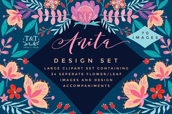 Handpainted Floral Clipart Set Anita by Twigs and Twine on @creativemarket
