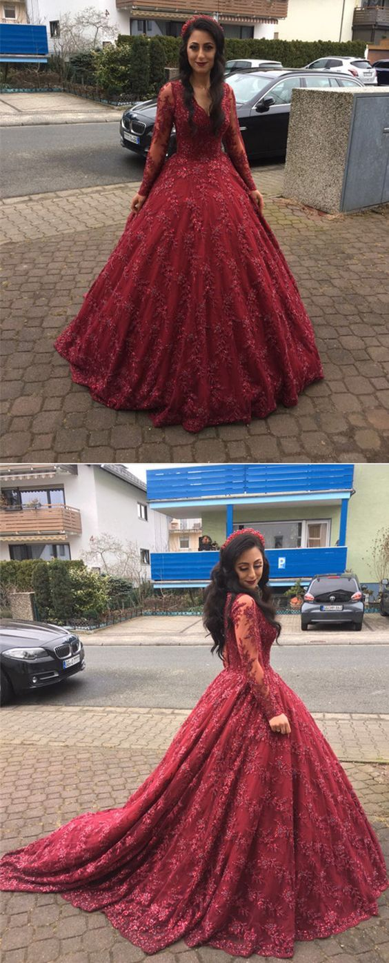 Long sleeves vneck ball gowns lace burgundy prom dresses prom