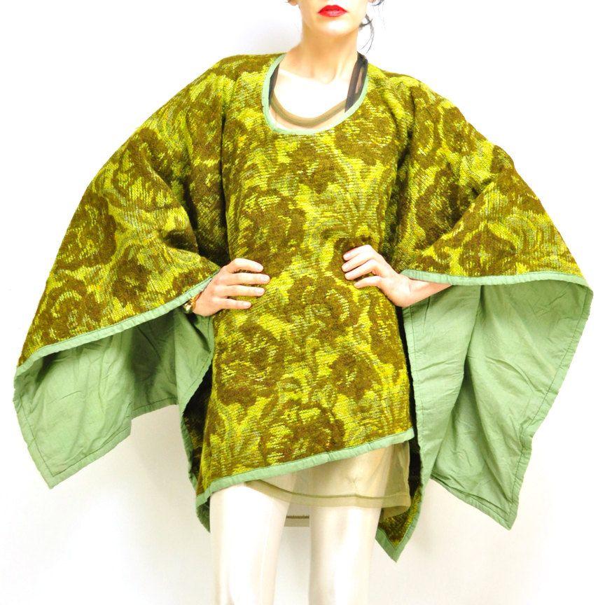 1960s CAPE / celadon / avocado / floral tapestry / brocade / baroque / tiered / kimono / one size. $88.00, via Etsy.