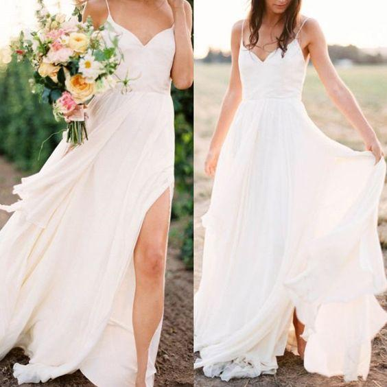 Simple Wedding Dresses Eloping: Casual Spahgetti Straps V Neck Side Slit Simple Beach