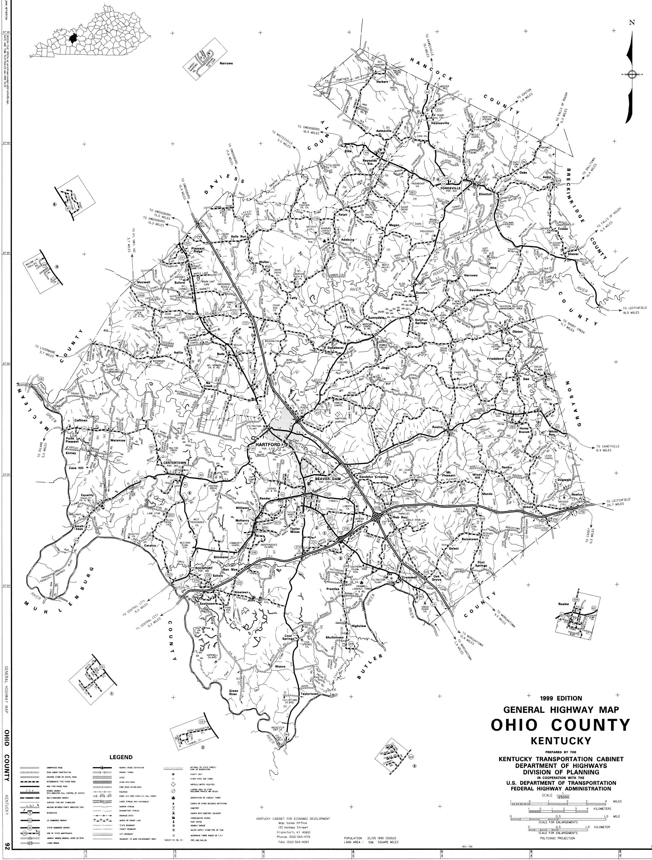 Ohio County Map Ohio County Ohio County Map Kentucky