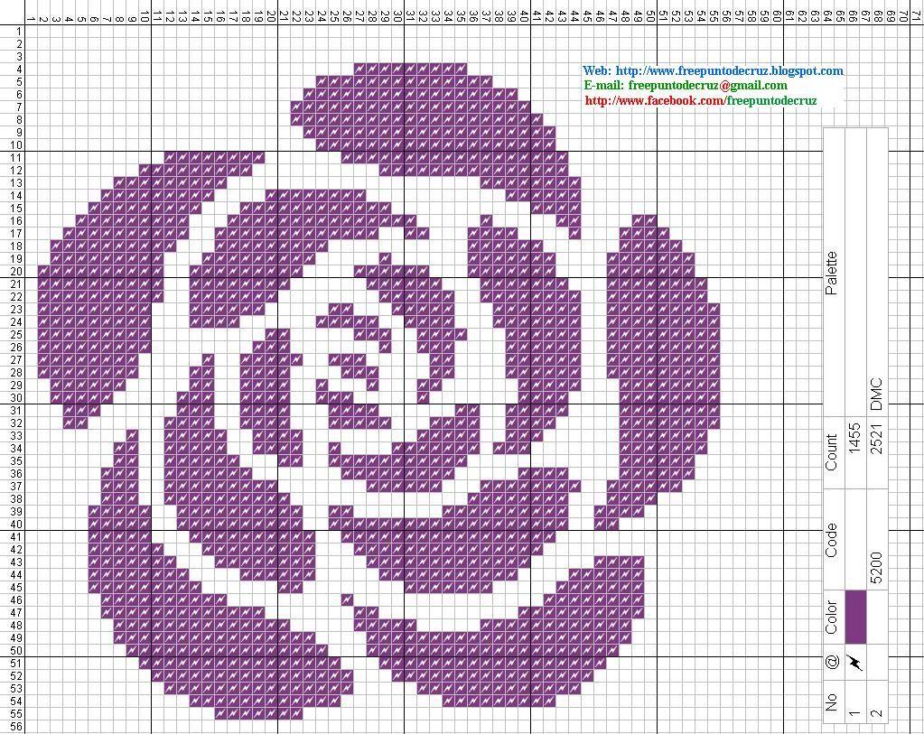 Rosa Morada Patron Punto De Cruz Floral Cross Stitch Cross Stitch Rose Cross Stitch Flowers