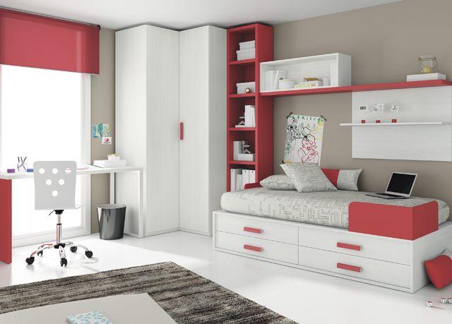 Kids touch 30 dormitorio juvenil juvenil camas compactas y - Cama compacta con cajones ...