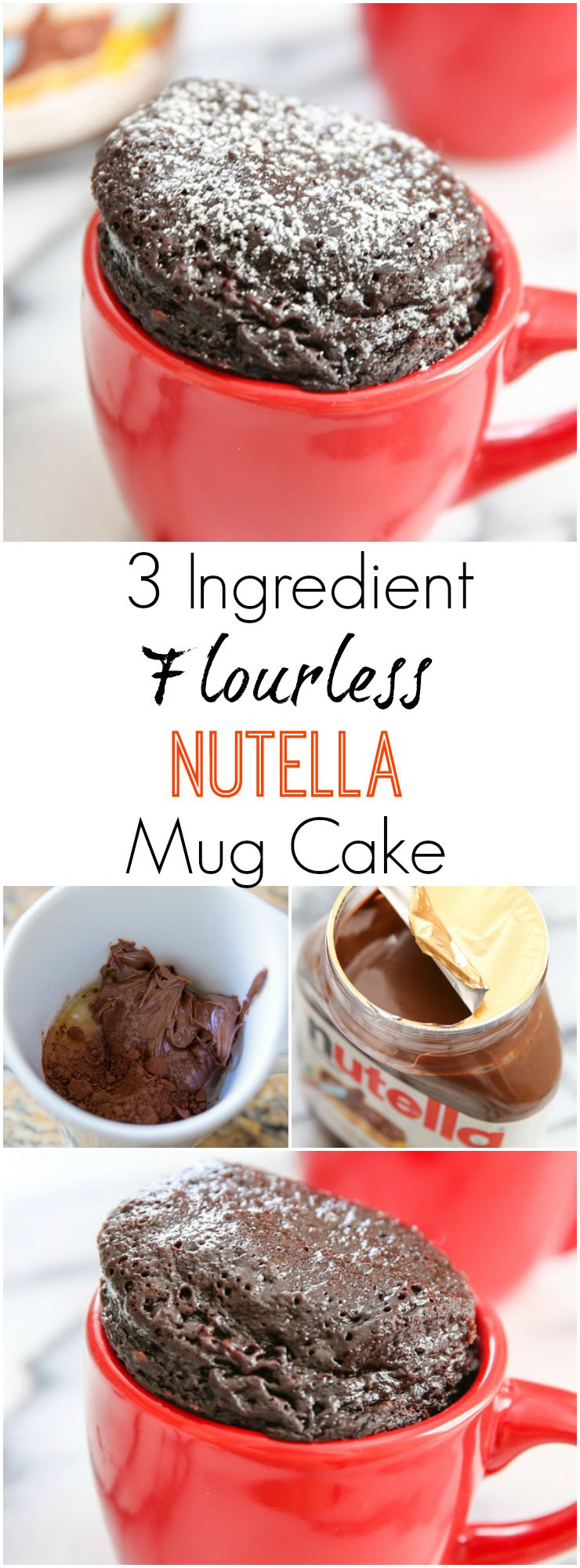 3 Ingredient Flourless Nutella Mug Cake. Super easy, single serving, rich and decadent microwave dessert. Click through for recipe!