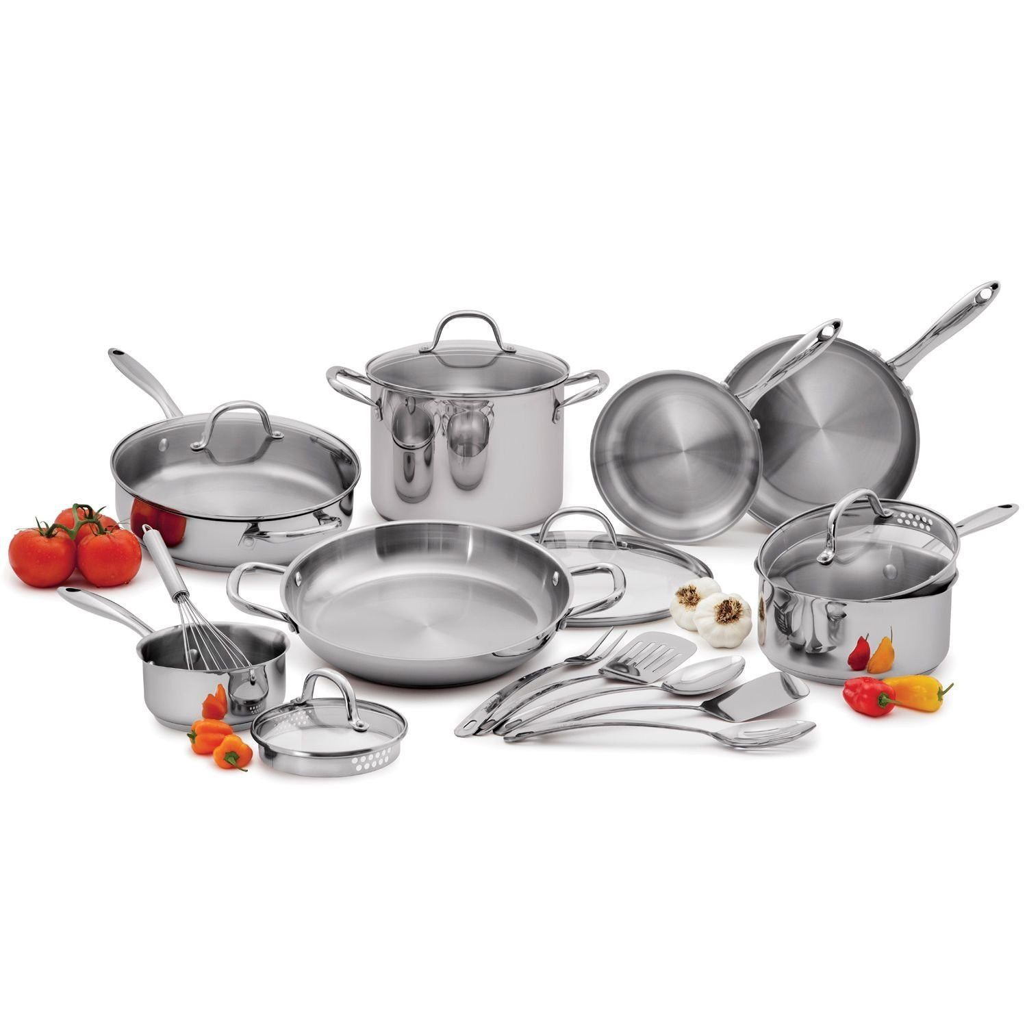 Wolfgang Puck Stainless Steel Cookware Set 18 Pc New Dishes Pots