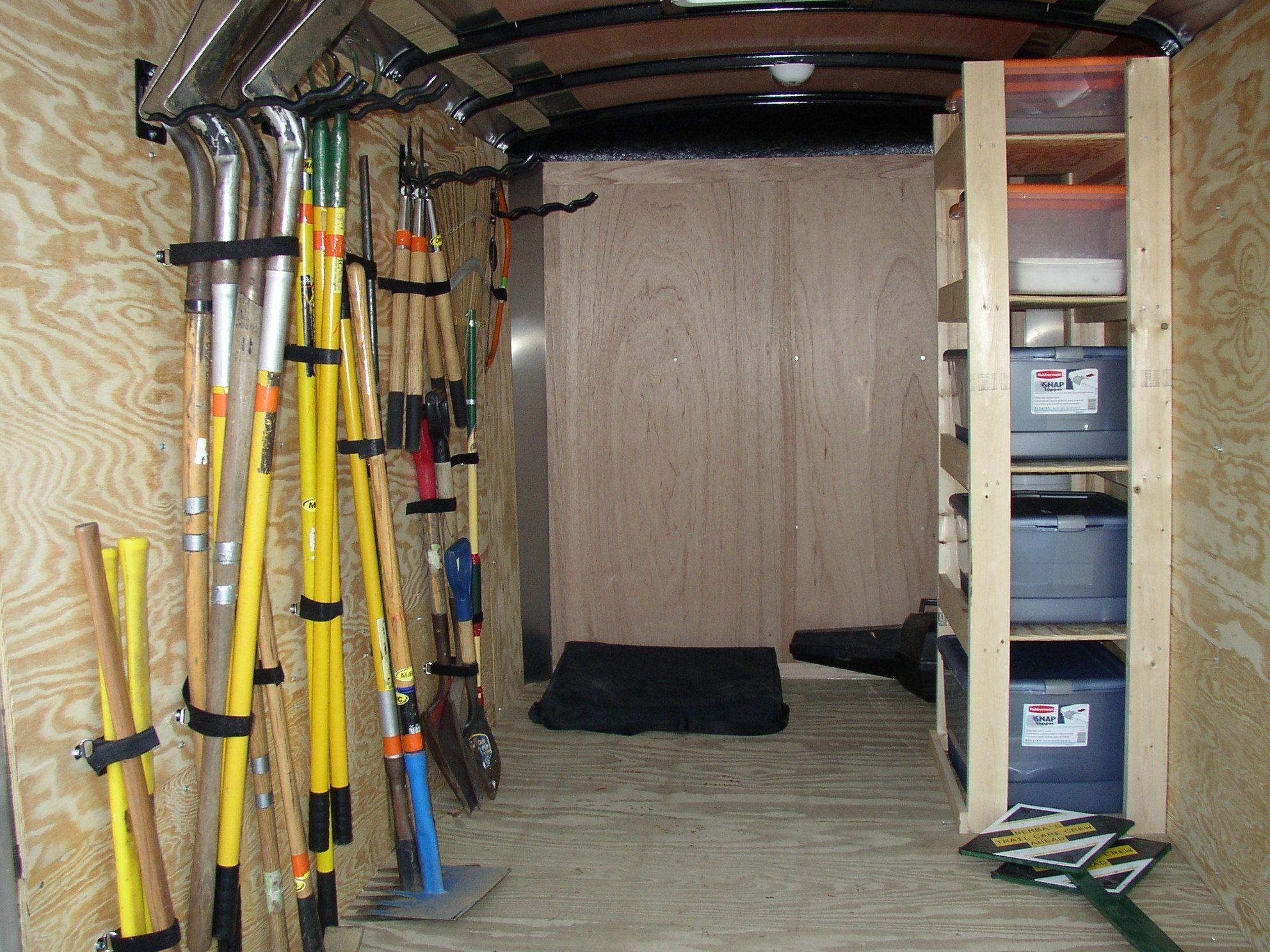 Enclosed trailer tool organization work trailer for Garage ad la tourlandry