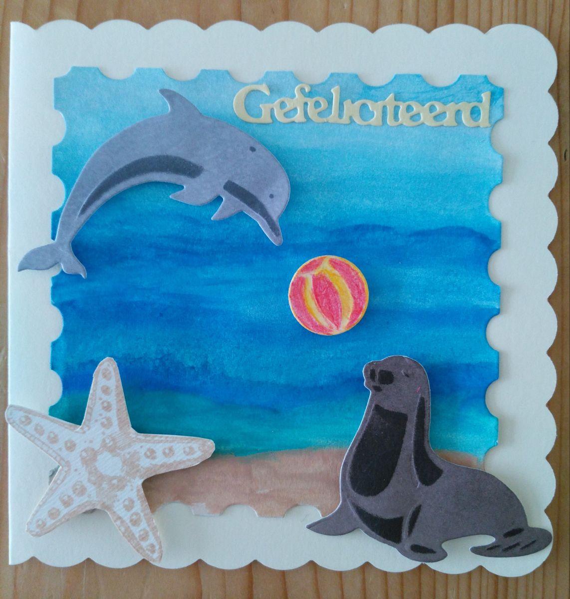 Dolfijn Met Zeehond Kaart Zelfgemaakte Kaarten Kaarten Zelfgemaakt