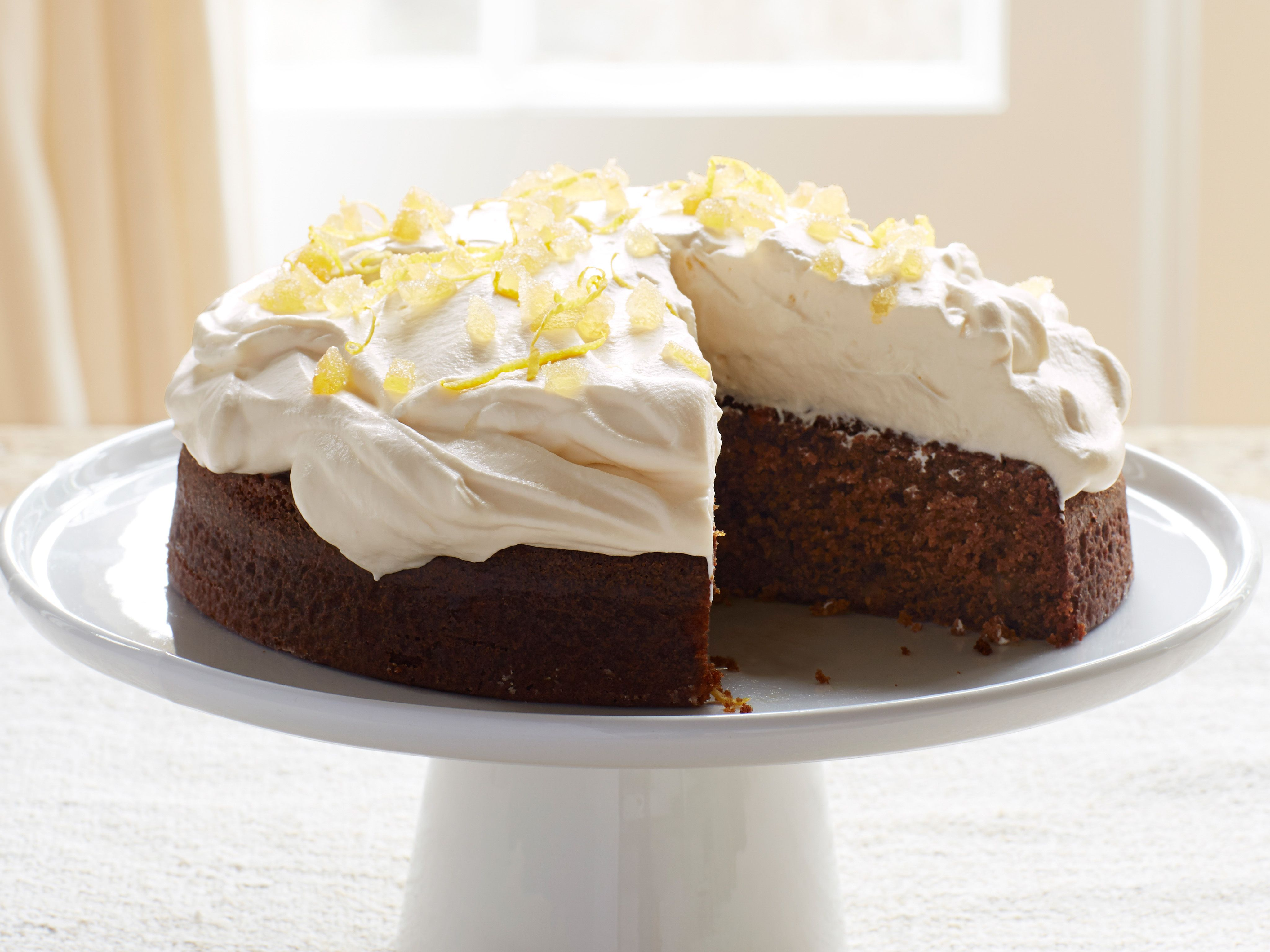 Lemon Ginger Mol Cake With Whipped Cream Recipe Ina Garten Food Network