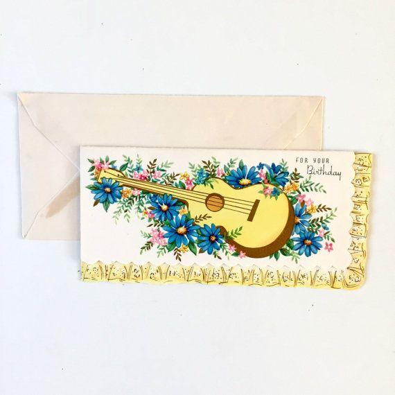 Vintage 1950s Birthday Card Guitar Graphic Birthday Card Unused