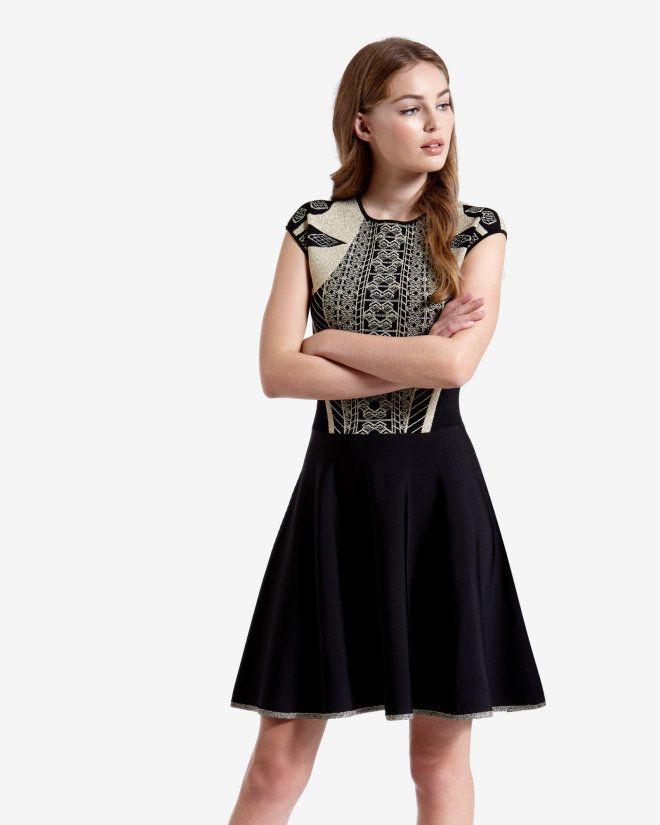 Knitted Jacquard Skater Dress Black Dresses Ted Baker Uk